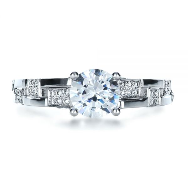 Custom Contemporary Diamond Engagement Ring - Top View -  1218 - Thumbnail