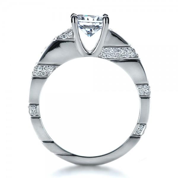 Custom Contemporary Diamond Engagement Ring - Finger Through View
