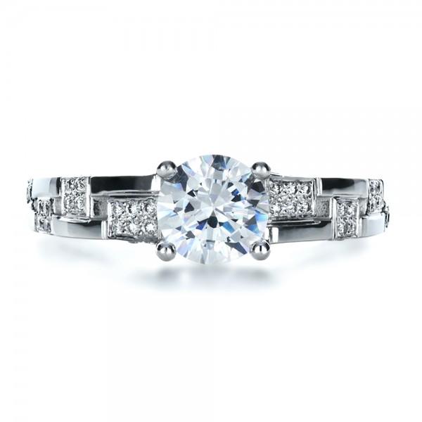 Custom Contemporary Diamond Engagement Ring - Top View
