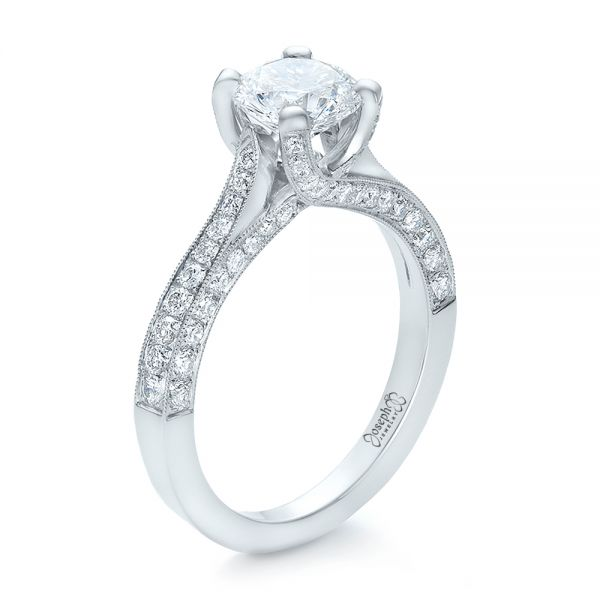 Custom Criss-Cross Diamond Engagement Ring - Image