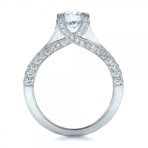 Custom Criss-Cross Diamond Engagement Ring - Finger Through View