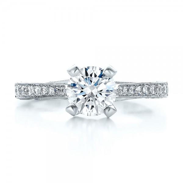 Custom Criss-Cross Diamond Engagement Ring - Top View