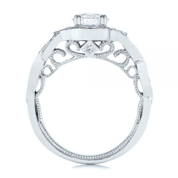 14k White Gold Custom Criss Cross Vintage-inspired Diamond Halo Engagement Ring - Front View -  105753 - Thumbnail