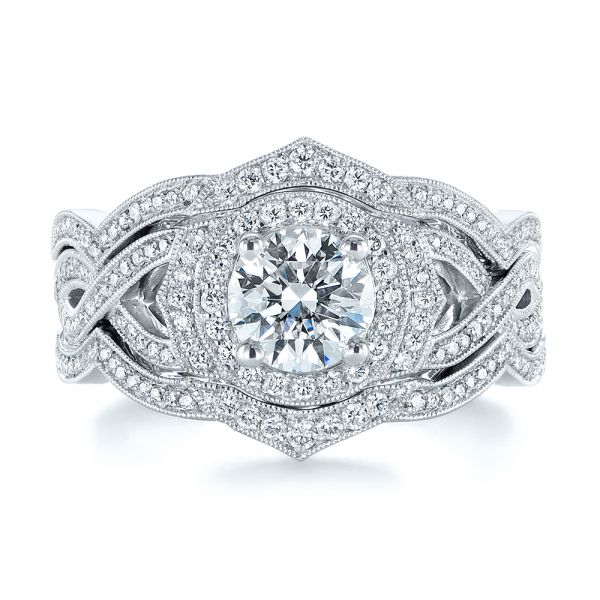 Custom Criss Cross Vintage-inspired Diamond Halo Engagement Ring - Image