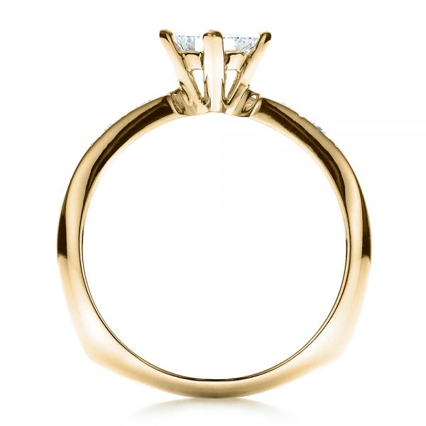 14k Yellow Gold 14k Yellow Gold Custom Diamond Bezel Engagement Ring - Front View -