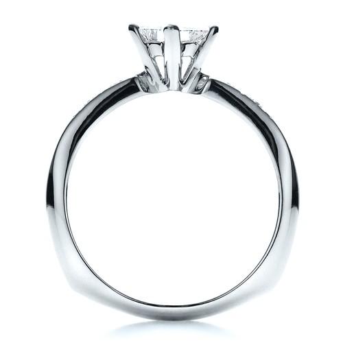 Custom Diamond Bezel Engagement Ring - Finger Through View