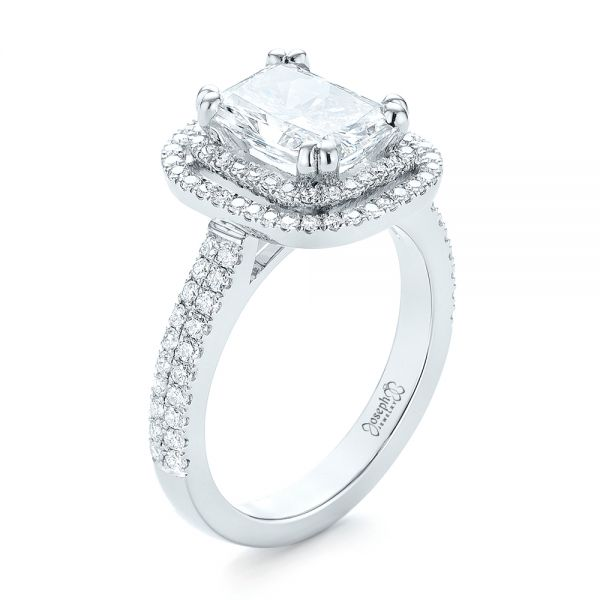 Custom Diamond Double Halo Engagement Ring - Image