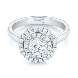 Custom Diamond Double Halo Engagement Ring