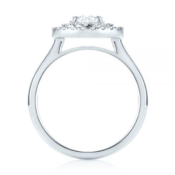 Platinum Custom Diamond Double Halo Engagement Ring - Front View -