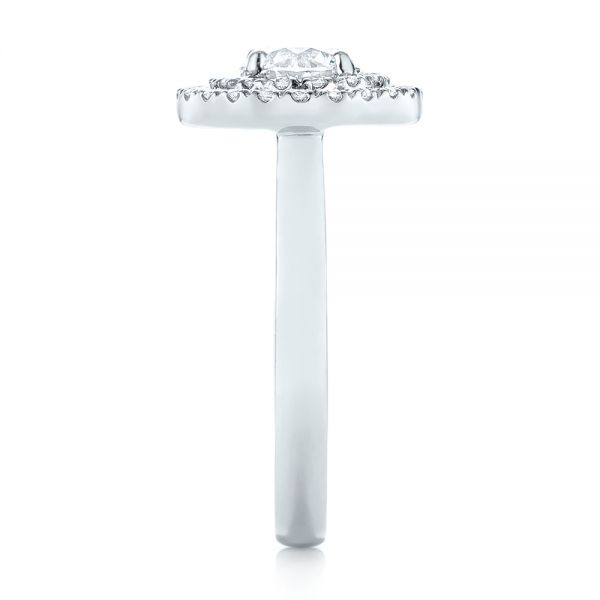 Platinum Custom Diamond Double Halo Engagement Ring - Side View -
