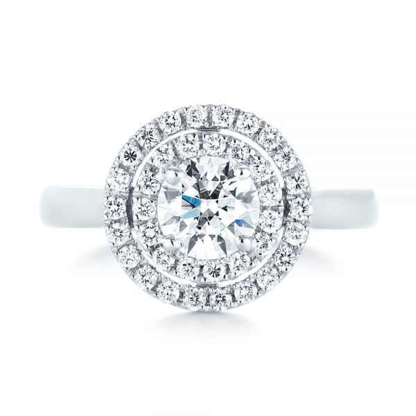 Platinum Custom Diamond Double Halo Engagement Ring - Top View -