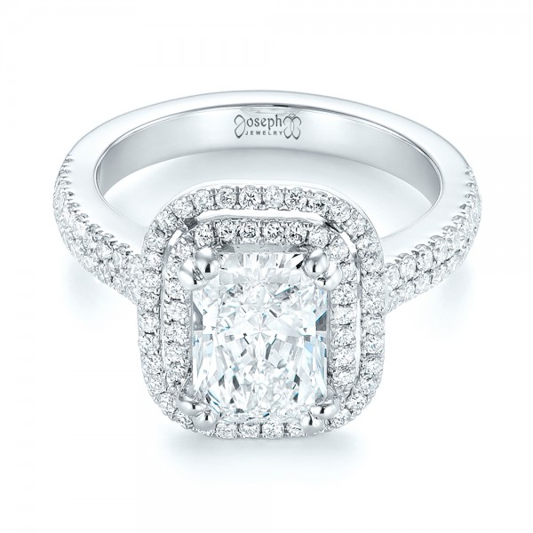 Custom Diamond Double Halo Engagement Ring - Laying View