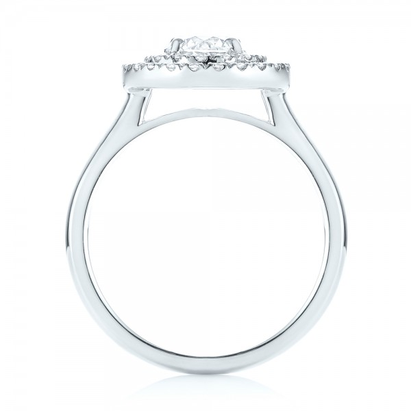 Custom Diamond Double Halo Engagement Ring - Finger Through View