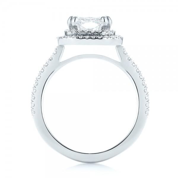 Custom Diamond Double Halo Engagement Ring - Finger Through View