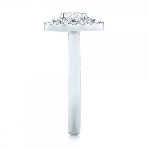 Custom Diamond Double Halo Engagement Ring - Side View