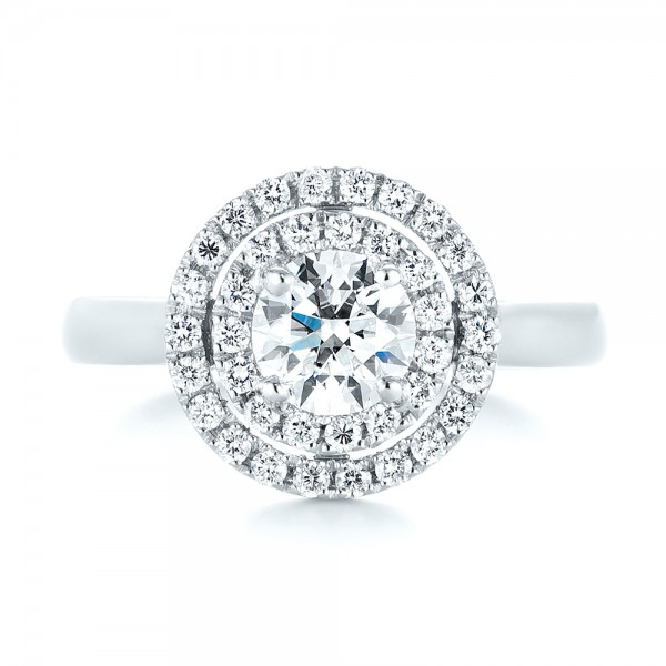 Custom Diamond Double Halo Engagement Ring - Top View
