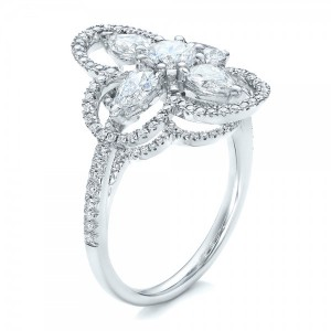Custom Flower Diamond Engagement Ring