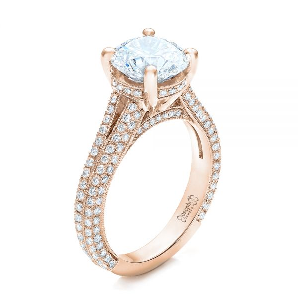 14k Rose Gold 14k Rose Gold Custom Diamond Engagement Ring - Three-Quarter View -