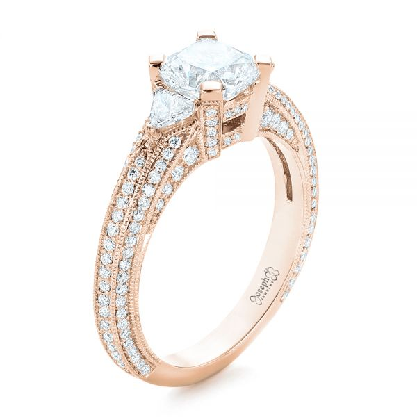 14k Rose Gold 14k Rose Gold Custom Diamond Engagement Ring - Three-Quarter View -  102457