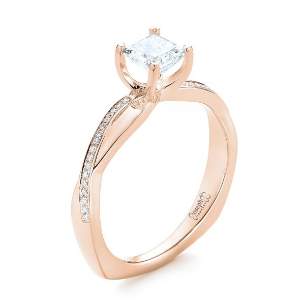 14k Rose Gold 14k Rose Gold Custom Diamond Engagement Ring - Three-Quarter View -  103637