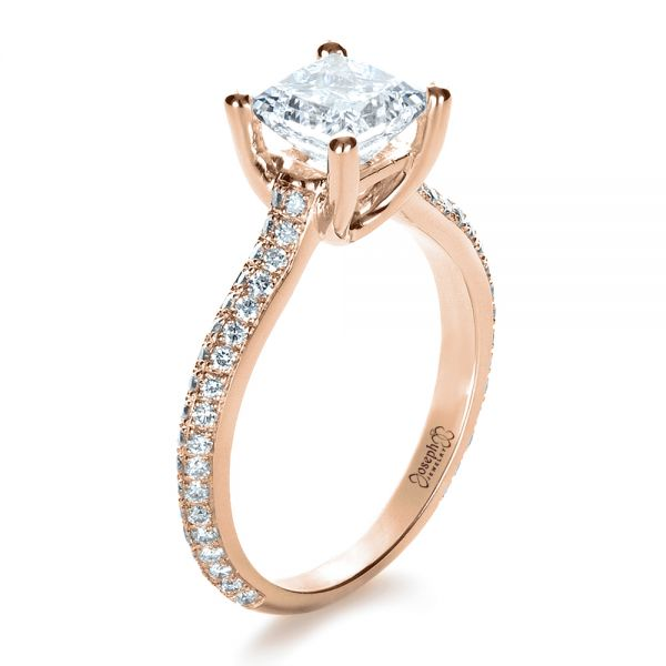18k Rose Gold 18k Rose Gold Custom Diamond Engagement Ring - Three-Quarter View -  1402