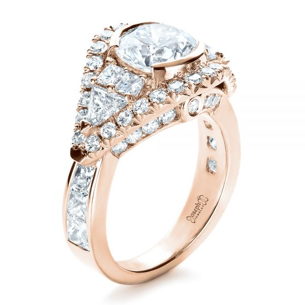 18k Rose Gold 18k Rose Gold Custom Diamond Engagement Ring - Three-Quarter View -