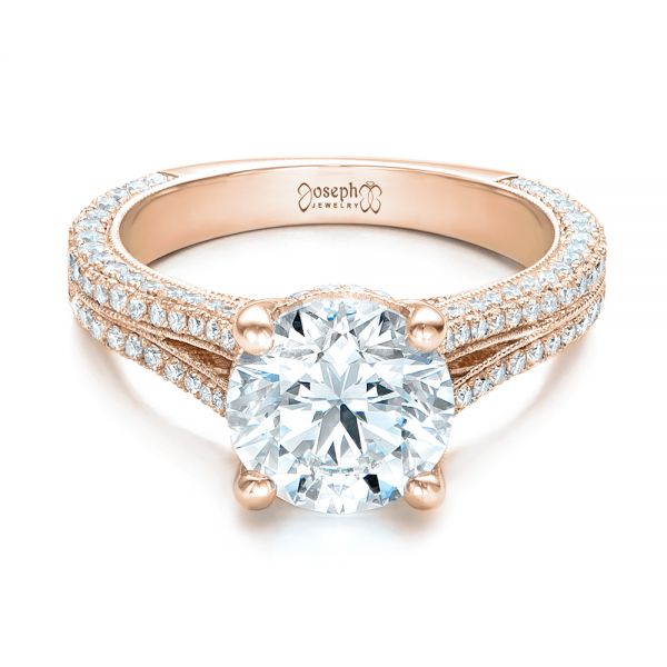 14k Rose Gold 14k Rose Gold Custom Diamond Engagement Ring - Flat View -