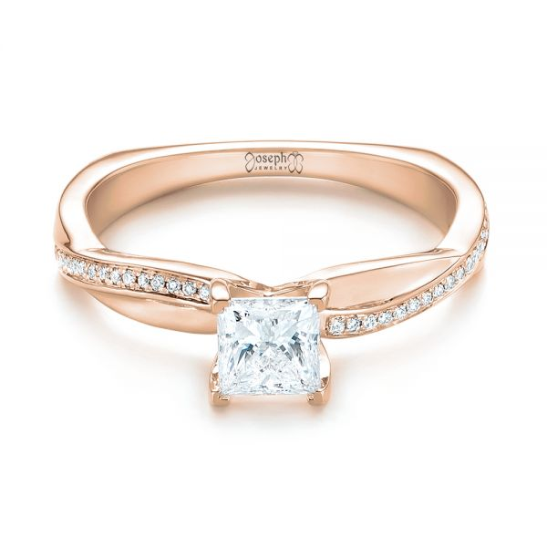 14k Rose Gold 14k Rose Gold Custom Diamond Engagement Ring - Flat View -  103637