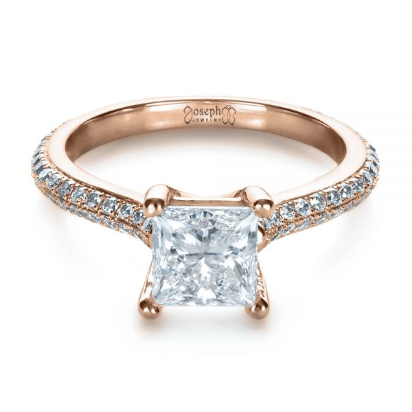 18k Rose Gold 18k Rose Gold Custom Diamond Engagement Ring - Flat View -  1402