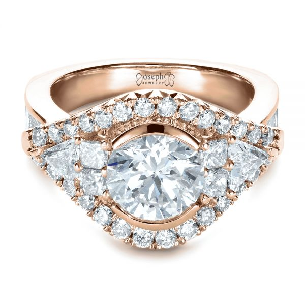 18k Rose Gold 18k Rose Gold Custom Diamond Engagement Ring - Flat View -