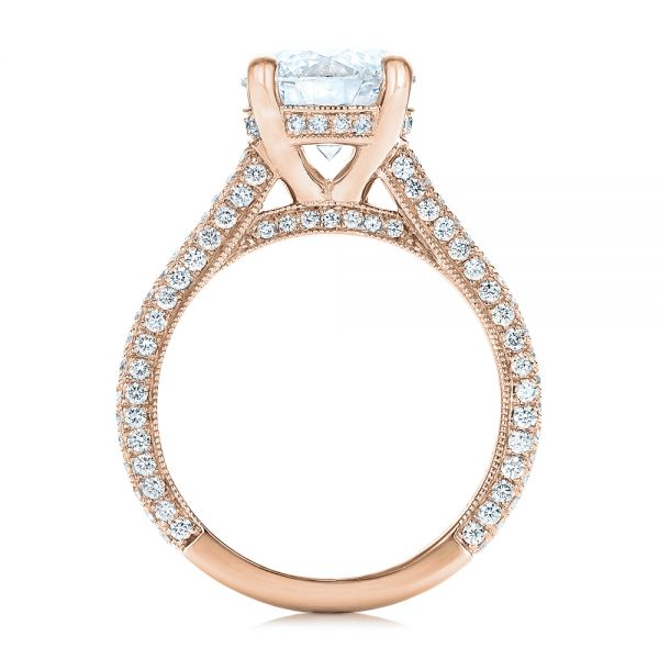 14k Rose Gold 14k Rose Gold Custom Diamond Engagement Ring - Front View -