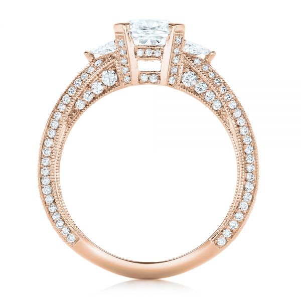 14k Rose Gold 14k Rose Gold Custom Diamond Engagement Ring - Front View -  102457
