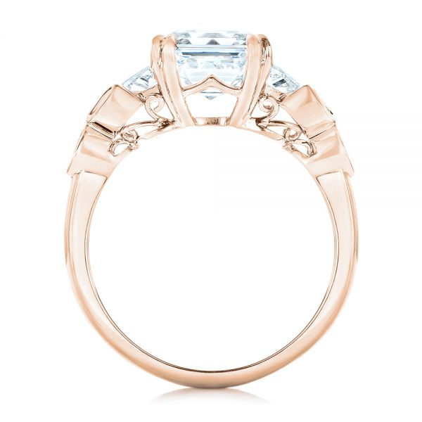 18k Rose Gold 18k Rose Gold Custom Diamond Engagement Ring - Front View -