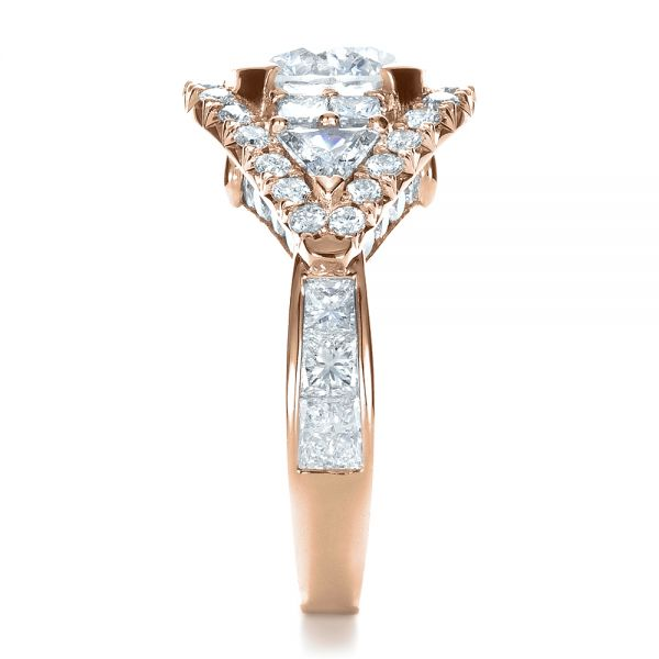 18k Rose Gold 18k Rose Gold Custom Diamond Engagement Ring - Side View -