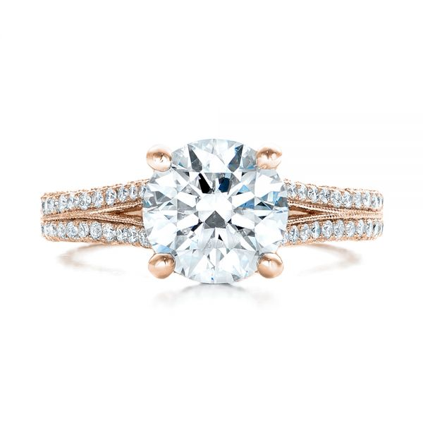 14k Rose Gold 14k Rose Gold Custom Diamond Engagement Ring - Top View -