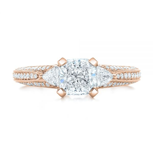 14k Rose Gold 14k Rose Gold Custom Diamond Engagement Ring - Top View -  102457