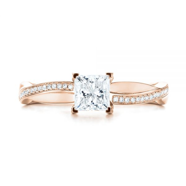 14k Rose Gold 14k Rose Gold Custom Diamond Engagement Ring - Top View -  103637
