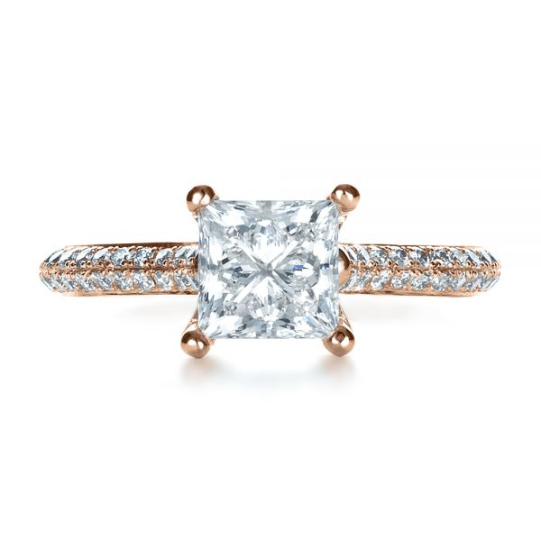 18k Rose Gold 18k Rose Gold Custom Diamond Engagement Ring - Top View -  1402