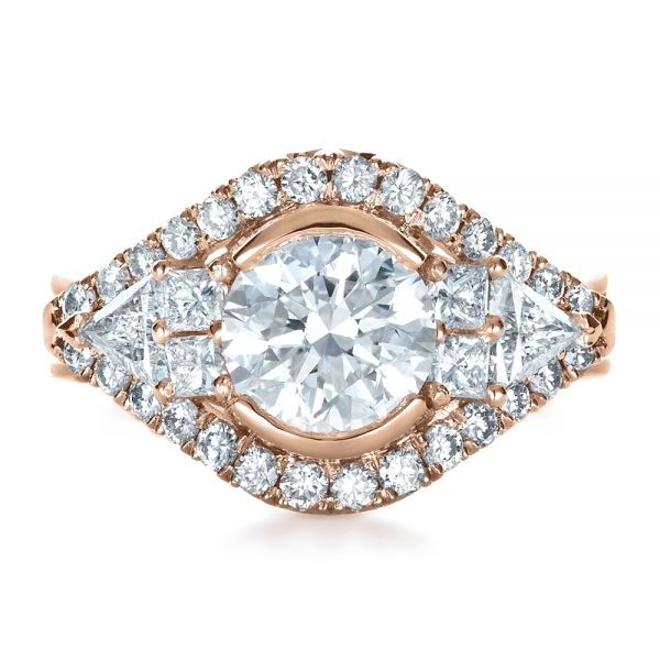 18k Rose Gold 18k Rose Gold Custom Diamond Engagement Ring - Top View -