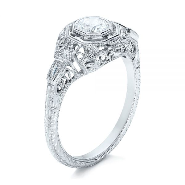 18k White Gold Custom Diamond Engagement Ring - Three-Quarter View -