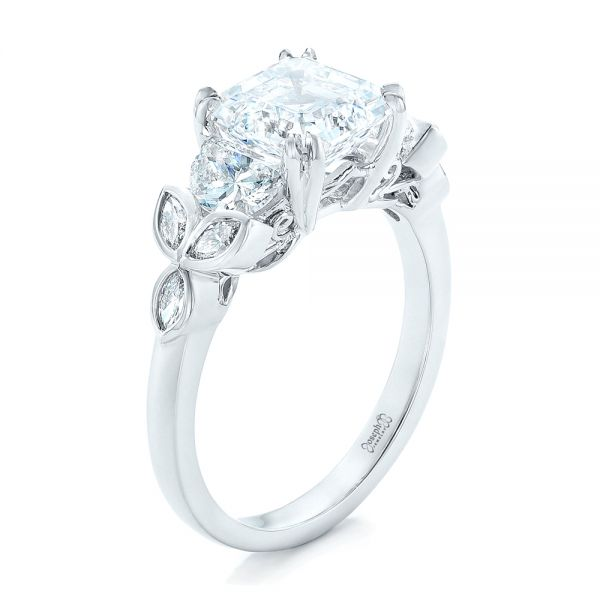 Platinum Custom Diamond Engagement Ring - Three-Quarter View -