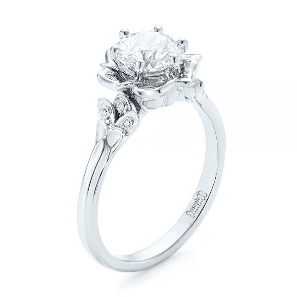 Platinum Custom Diamond Engagement Ring - Three-Quarter View -  102896