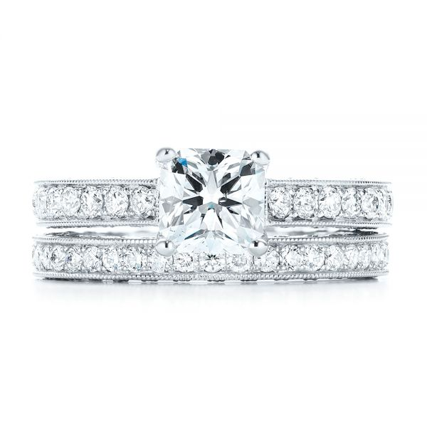 18k White Gold Custom Diamond Engagement Ring - Three-Quarter View -  103303
