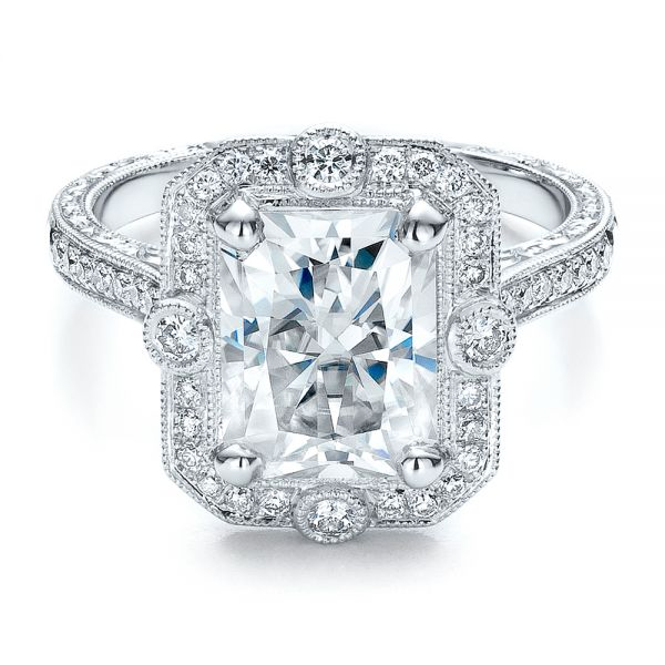 Custom Diamond Engagement Ring - Flat View -  100091 - Thumbnail