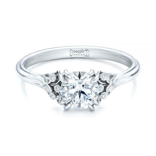 Platinum Platinum Custom Diamond Engagement Ring - Flat View -