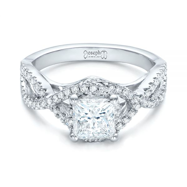14k White Gold Custom Diamond Engagement Ring - Flat View -  102148