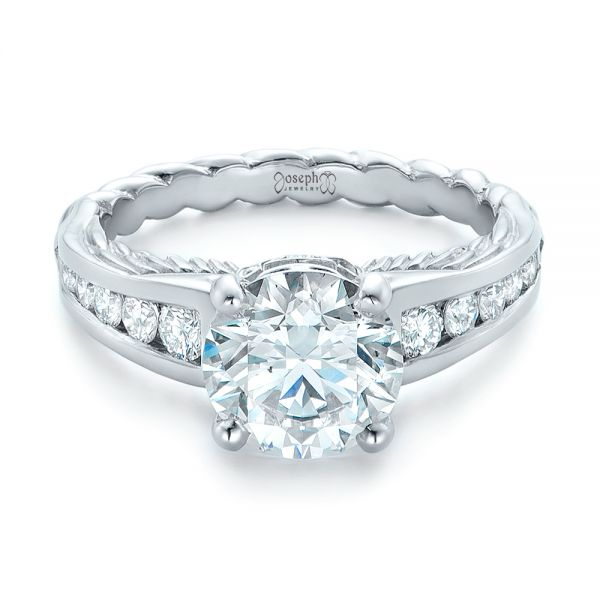 Custom Diamond Engagement Ring - Flat View -  102218 - Thumbnail