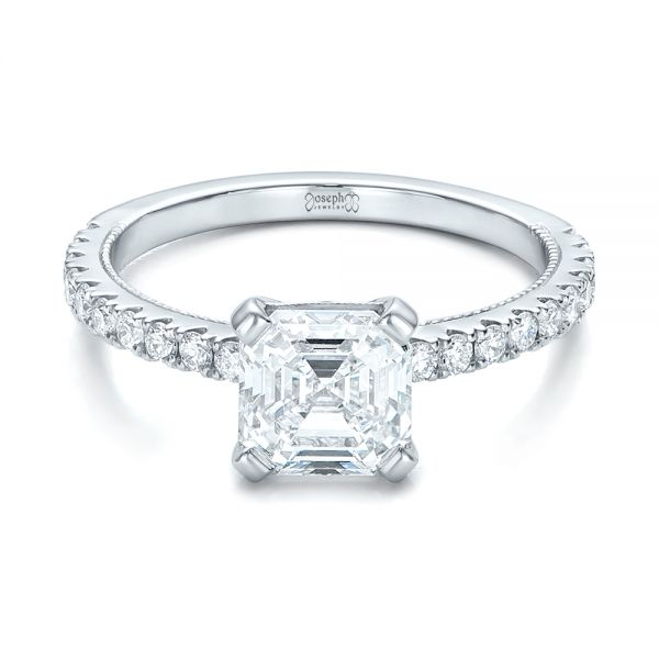 14k White Gold 14k White Gold Custom Diamond Engagement Ring - Flat View -