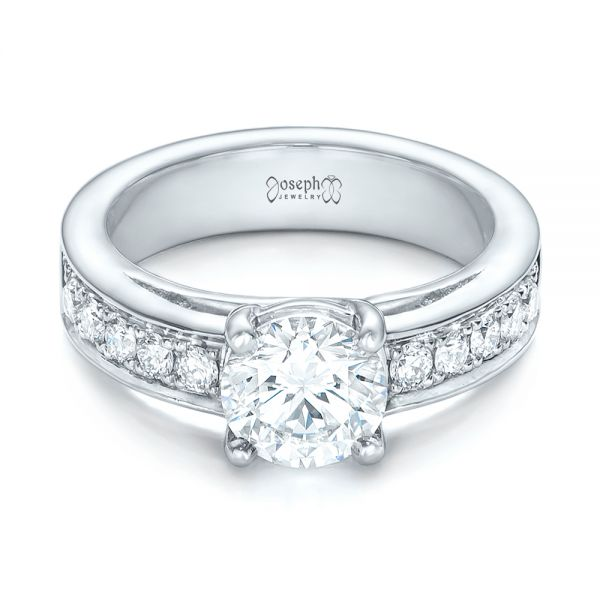 Custom Diamond Engagement Ring - Flat View -  102345 - Thumbnail