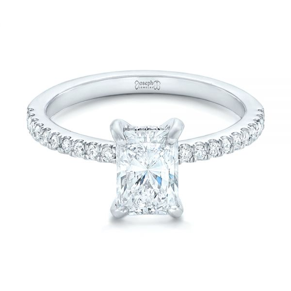 18k White Gold 18k White Gold Custom Diamond Engagement Ring - Flat View -
